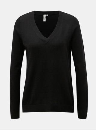 Černý dámský lehký svetr s véčkovým výstřihem QS by s.Oliver