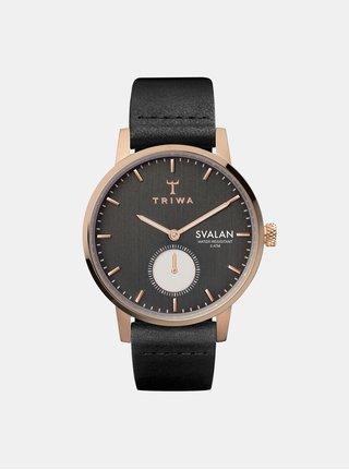 Dámske hodinky s čiernym koženým remienkom TRIWA Noir Svalan