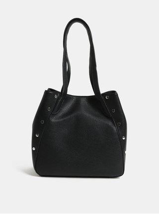 Čierna kabelka cez rameno s detailmi v striebornej farbe Pieces Kimberley