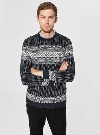 Bílo-modrý svetr z organické bavlny Selected Homme Flake