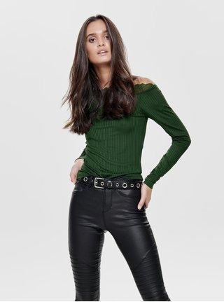 Tricou verde inchis cu striatii si detalii din dantela Jacqueline de Yong Rine