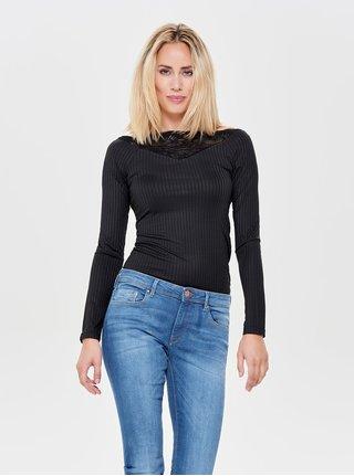 Tricou negru cu striatii si detalii din dantela Jacqueline de Yong Rine