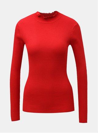 Červené žebrované tričko se stojáčkem Jacqueline de Yong Plum