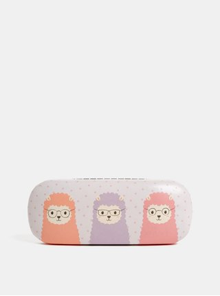 Světle růžové pouzdro na brýle s motivem lam Sass & Belle Little Lama