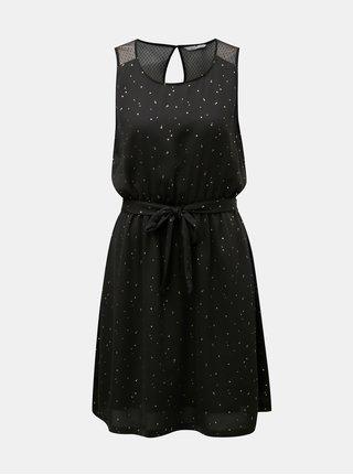 Čierne šaty s bodkami v zlatej farbe a gumou v páse ONLY Marbella