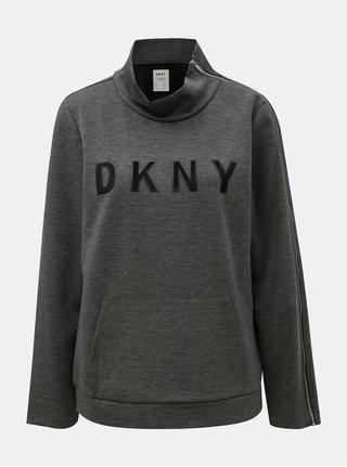 Sivá melírovaná mikina so zipsom na rukáve DKNY