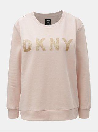 Staroružová mikina s potlačou v zlatej farbe DKNY Crew Neck