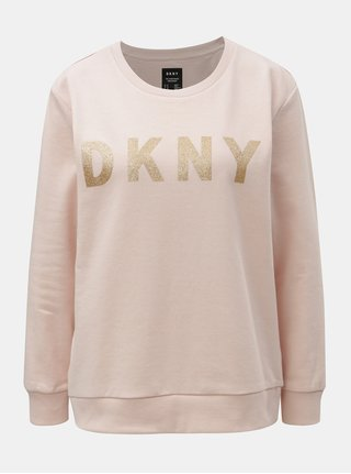 Bluza sport roz prafuit cu imprimeu auriu DKNY Crew Neck