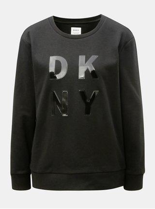 Černá mikina s lesklým hladkým logem DKNY Crew Neck
