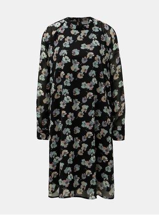 Černé květované šaty s dlouhým rukávem Jacqueline de Yong Hannah