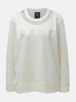 Krémová mikina s ozdobnými kamienkami DKNY