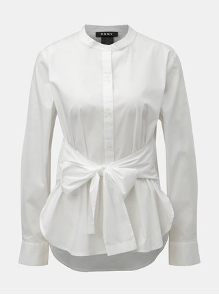 Biela košeľa s mašľou DKNY Mandarin Collar