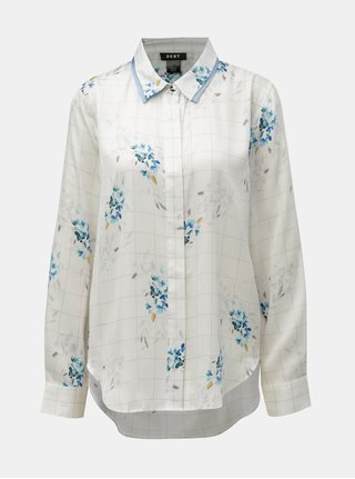 Modro–biela kockovaná kvetovaná košeľa DKNY