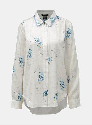 Camasa albastru-alb florala in carouri DKNY
