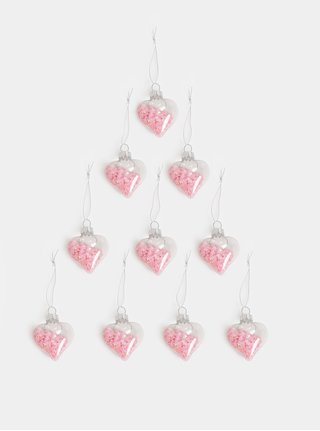 Set de 12 decoratiuni de Craciun roz in forma de inimi Sass & Belle Confetti Sequin Baubles