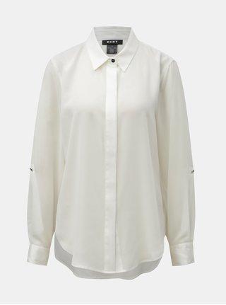 Krémová košeľa s predĺženou zadnou časťou DKNY Foundation