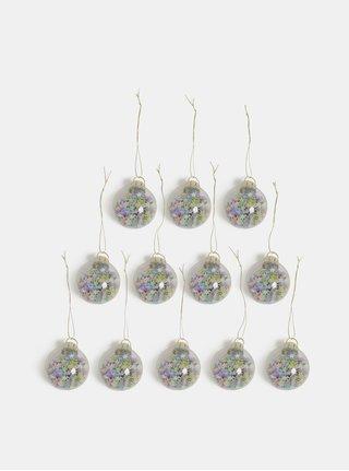 Sada dvanácti vánočních ozdob v růžovo-modré barvě s hvězdičkami Sass & Belle Pastel Stars Mini Baubles