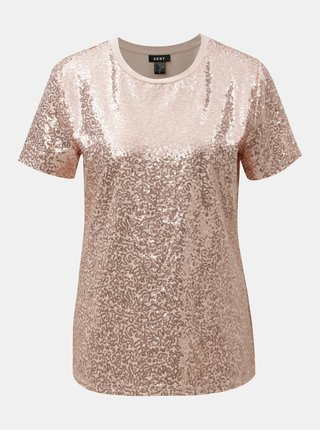 Starorůžové tričko s flitry DKNY Sequin