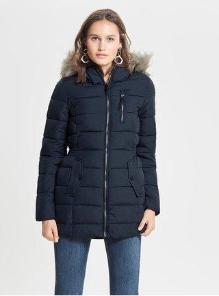 Tmavomodrý zimný kabát s umelou kožušinkou ONLY North