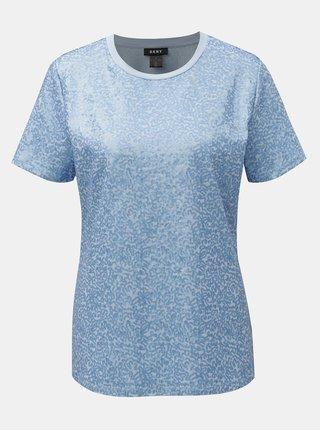 Tricou albastru cu paiete DKNY Sequin