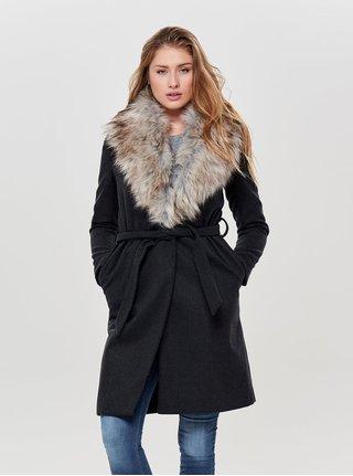 Tmavě šedý žíhaný kabát s odnímatelným límcem z umělé kožešiny ONLY Anika