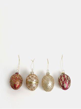 Sada čtyř vzorovaných vánočních ozdob ve zlaté a červené barvě Sass & Belle