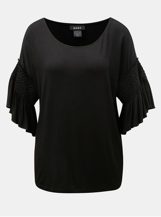 Tricou negru cu maneci clopot DKNY Bell