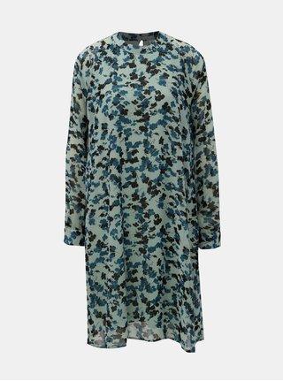 Mentolové kvetované šaty s dlhým rukávom ONLY Jacqueline de Yong Hanna