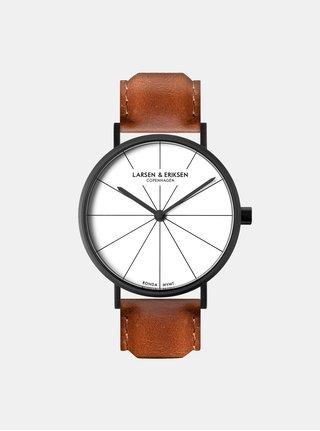 Unisex hodinky s hnedým koženým remienkom LARSEN & ERIKSEN