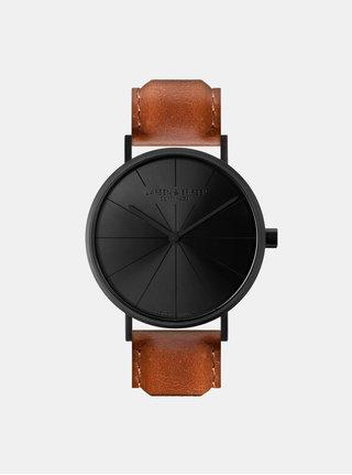 Unisex hodinky v čiernej farbe s hnedým koženým remienkom LARSEN & ERIKSEN