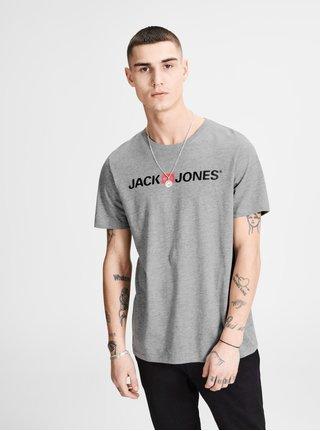 Šedé žíhané tričko s potiskem Jack & Jones