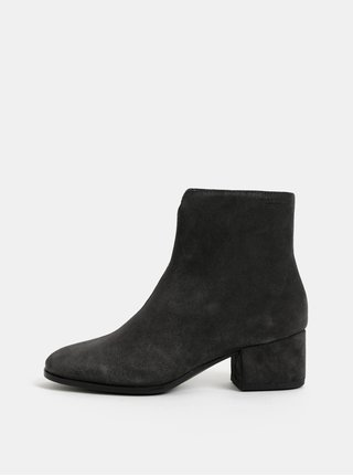 Tmavosivé dámske semišové členkové topánky na nízkom podpätku Vagabond Daisy