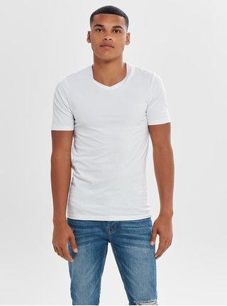 Krémové basic tričko s krátkým rukávem ONLY & SONS Basic