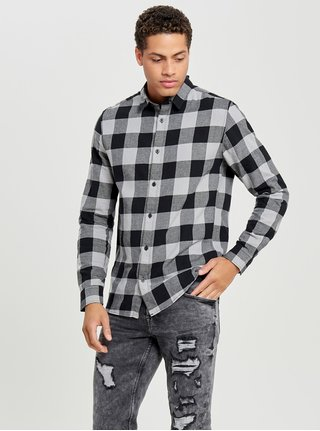 Černo-šedá kostkovaná slim košile s dlouhým rukávem ONLY & SONS Gudmund