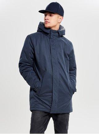 Tmavomodrá zimná dlhšia bunda ONLY & SONS Ethan