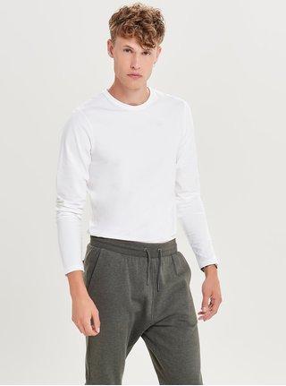 Biele basic tričko s dlhým rukávom ONLY & SONS