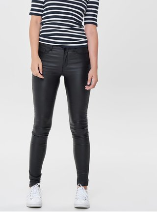 Pantaloni negri skinny din piele sintetica cu talie joasa ONLY