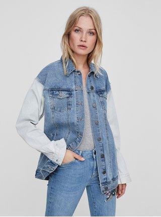 Jacheta albastru-crem din denim cu buzunare Noisy May Oli