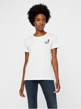 Tricou alb cu broderie Noisy May