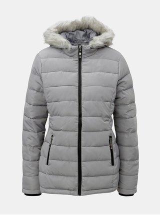 Sivá zimná prešívaná bunda s umelou kožušinkou Dorothy Perkins