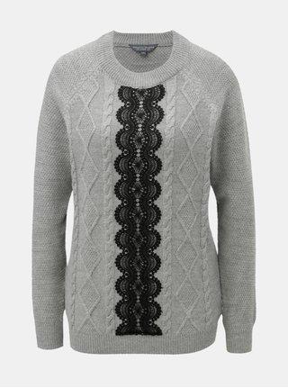 Šedý svetr s krajkovým detailem Dorothy Perkins Tall