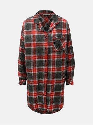 Sivo–červená fleecová nočná košeľa Dorothy Perkins Sleep