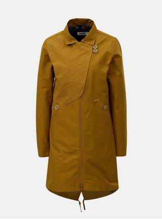 Hořčicový dámský kabát s odnímatelnou vnitřní lehkou vzorovanou bundou 2v1 Maloja Sottoponte