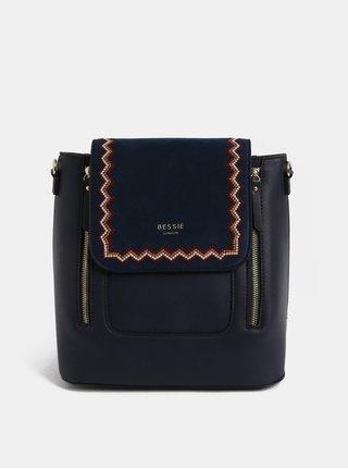 Tmavomodrý batoh s výšivkou a detailmi v semišovej úprave Bessie London