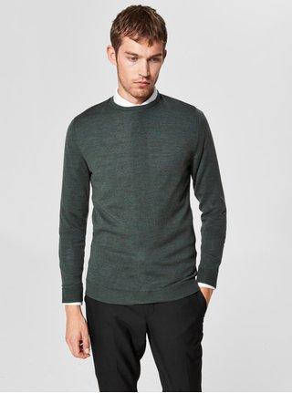 Zelený vlněný lehký svetr s kulatým výstřihem Selected Homme