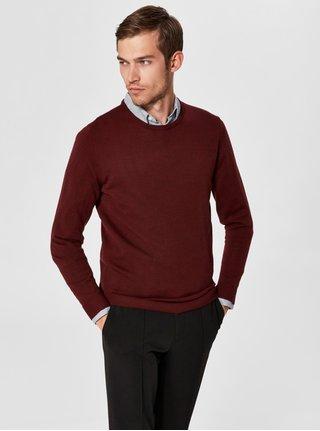 Vínový vlněný lehký svetr s kulatým výstřihem Selected Homme