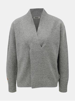 Sivý dámsky vlnený sveter s prekladaným detailom Maloja Torta