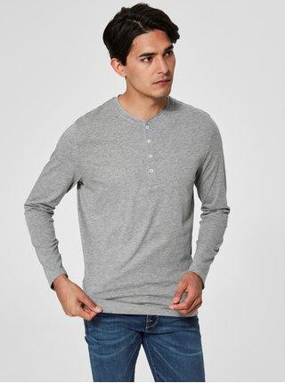 Svetlosivé tričko s dlhým rukávom Selected Homme Niklas
