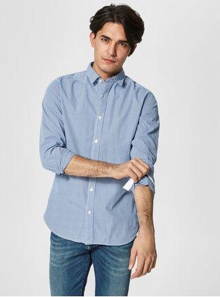 Svetlomodrá kockovaná formálna slim fit košeľa Selected Homme