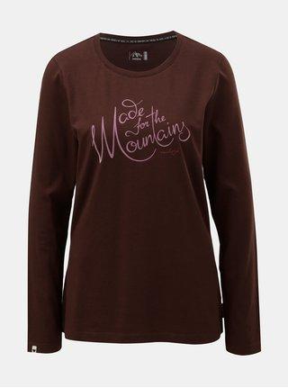 Tmavě hnědé dámské tričko s potiskem a dlouhým rukávem Maloja Spelma